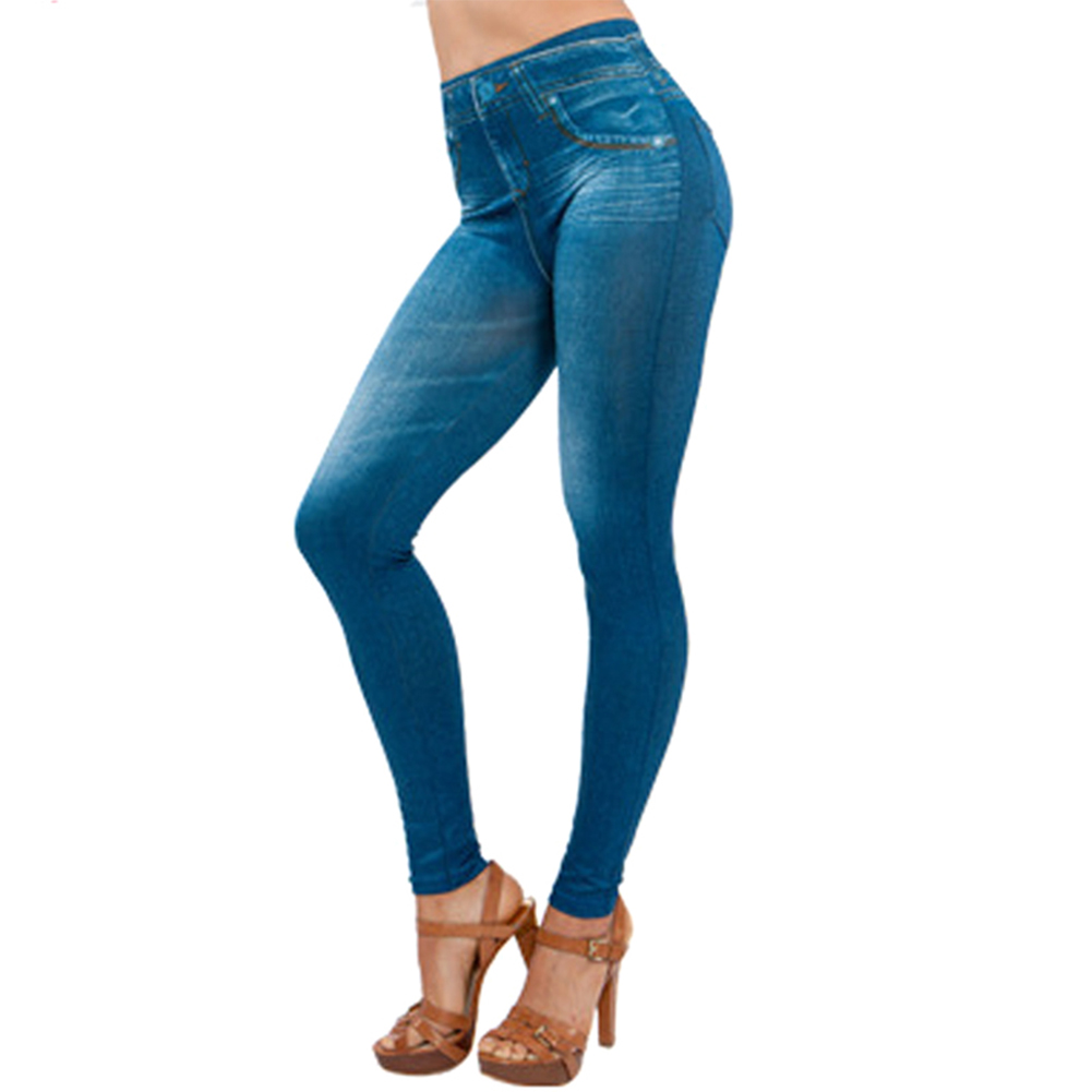 Women Lady Faux Jeans Leggings Pants High Waist Stretchy Breathable For Party  NFE99