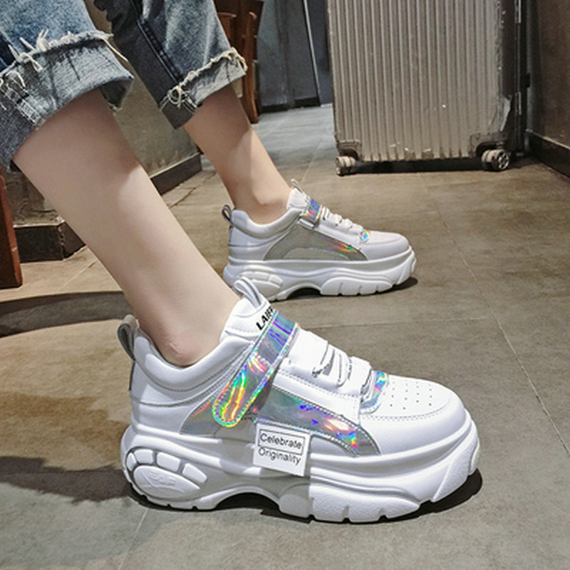 Tleni 35-44 Size Women's Fashion Thick Soled High Quality Platform Sneakers Shoes Female Lace Up Height Increasing Shoes ZD-38