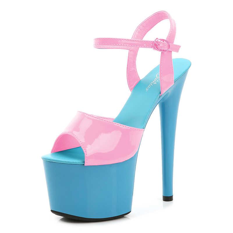 Vũ Nữ Thoát Y Gót Nữ Giày Nữ Mùa Hè 2020 Nền Tảng Cao Gót Mỏng Gót 20 Cm Phối Màu Gợi Cảm Chống Nước Cưới giày