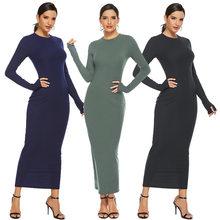 Robe Maxi pour femmes, automne hiver, Slim, Sexy, col rond, manches longues, élégant, tricot