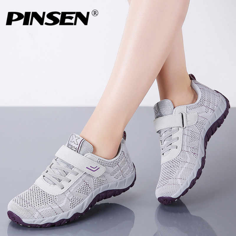 PINSEN 2020 가을 패션 여성 신발 고품질 캐주얼 스니커즈 신발 여성 플랫 레이스 업 크리퍼 편안한 어머니 신발