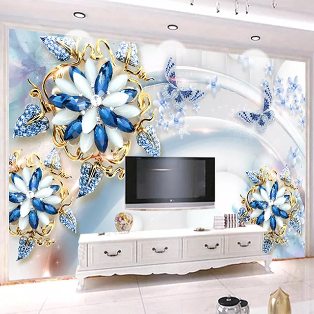 Custom Mural Wallpaper 3D Stereo Blue Jewelry Flower Wall Painting Living Room TV Sofa Luxury Home Decor Wall Paper For Walls 3D