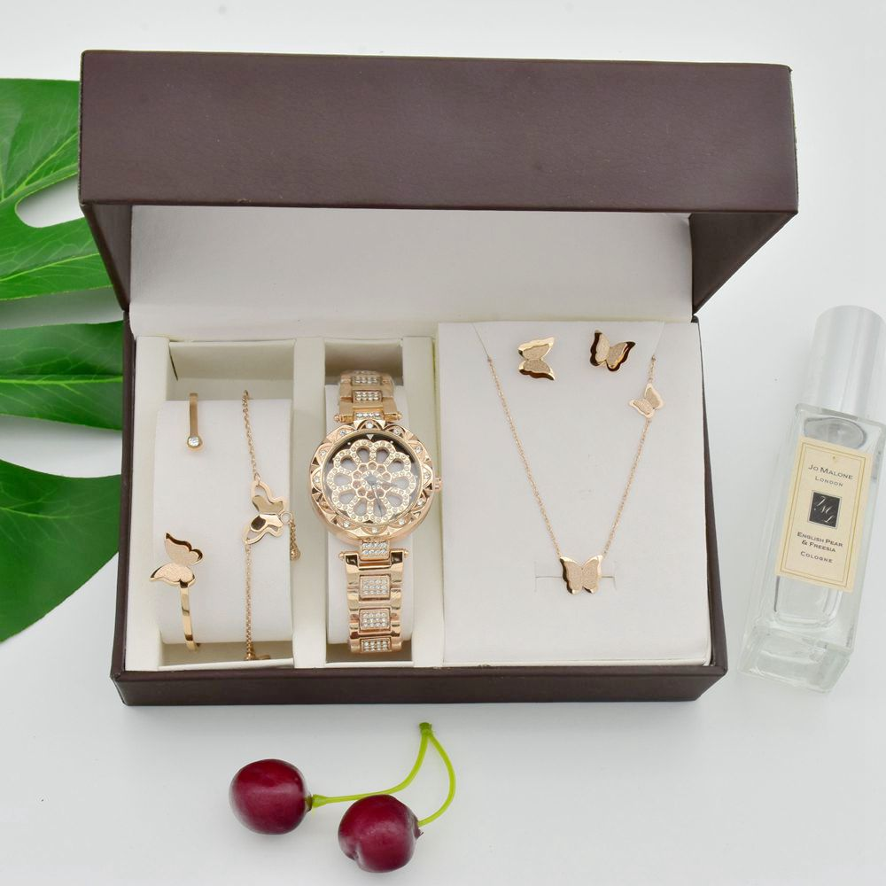 Women 360 Degree Rotation Watches Luxury Rose Gold Steel Titanium Necklace Earrings Bracelet Anklet Set Girls Exquisite Present