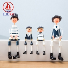 LUCKK Mediterranean Style Navy Hanging Dolls A Family Of Four Wooden Model Handicraft Home Decor Creative Resin Arts Ornaments