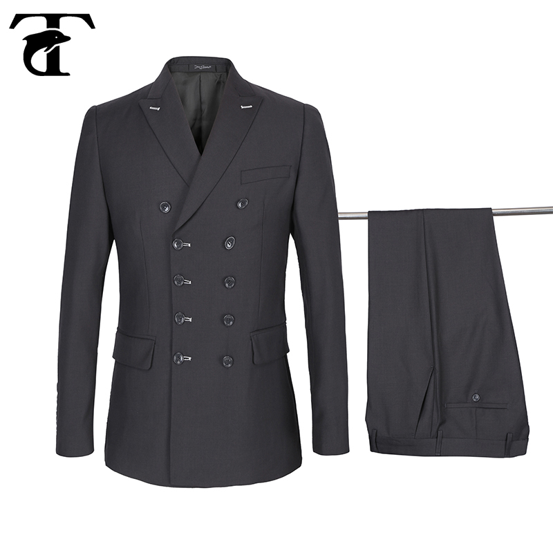Men/'s High Quality Double Breasted Suit Jacket+pants Black White 38R~58L