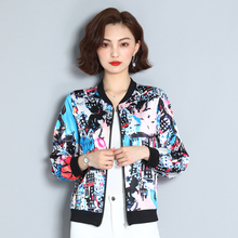 Autumn Silk Women Jacket Floral Long Sleeve Coats and Jackets Women Streetwear Pink Short Jackets Plus Size 4XL Female Jacket цена и фото