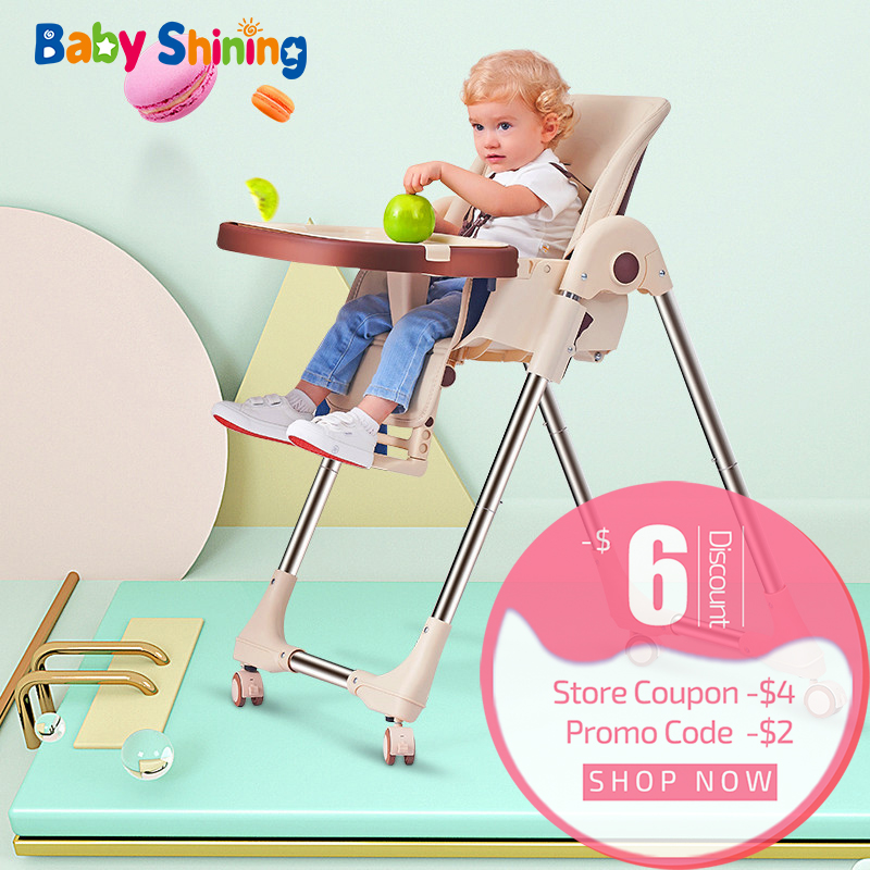 Baby Shining Baby High Chair Over 6M Kid Foldable Infant Feeding Chair Dining Table Chair Portable Baby Dining Chair 4 Wheel