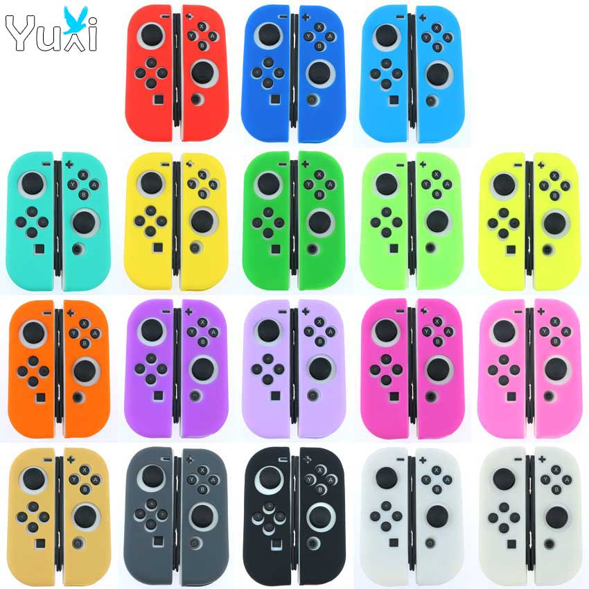 YuXi Silicone Rubber Skin Case Cover For Nintend Switch Joy Con Controller For NX NS Joycon Anti-slip Soft Case(China)