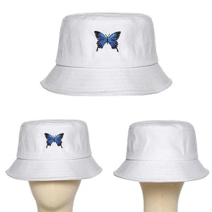 Panama with Butterfly Canvas Bucket Hat White Butterfly Embroidery Double-sided Wearable Basin Caps Outdoor Travel Visor Hat