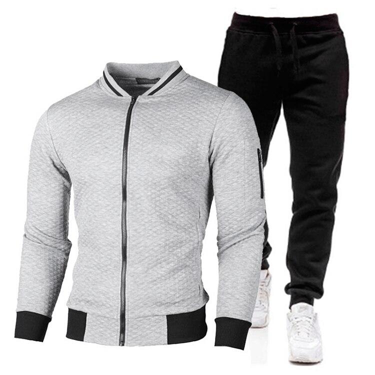 Trainingsanzüge Männer Casual Set 2021 Winter Neue Marke Jogger Trainingsanzug Zipper Hoodies + Hosen 2PC Sets herren Sportswear anzug Kleidung