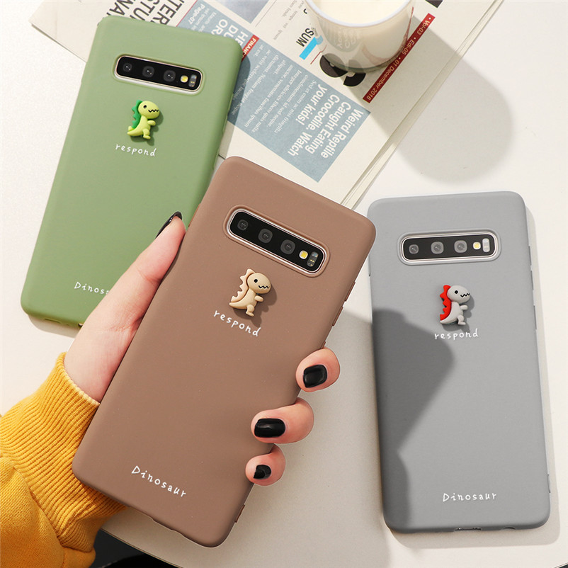 3D Lovely Dinosaur Case For <font><b>Samsung</b></font> Galaxy A7 A8 <font><b>A9</b></font> J4 J6 A6 Plus 2018 J3 J5 J7 Prime A5 2017 <font><b>2016</b></font> S6 Edge Note 8 9 10 TPU Cover image
