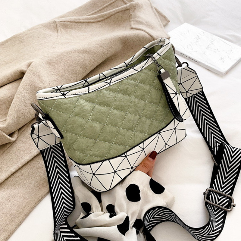 Matcha Color Women Bucket Bag Female Shoulder Bags Thread Panelled Handbag Bao for Lovely Lady PU Leather Messenger