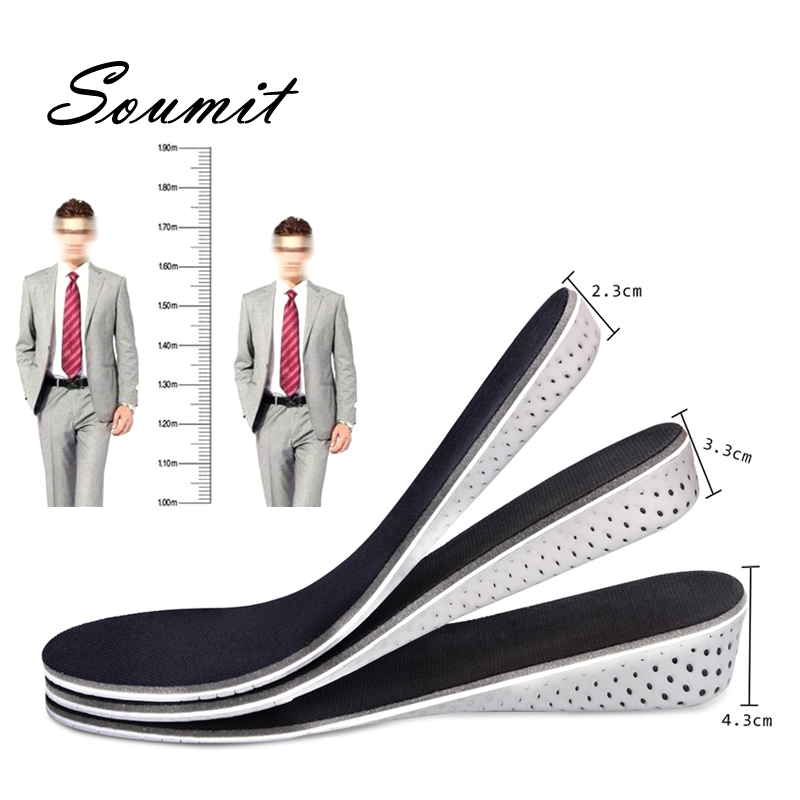 Soumit Memory Foam Height Increase Insoles For Men Women Shoes Insert 2cm 3cm 4cm Heel Lift Elevator Cushion Insole Pads Soles