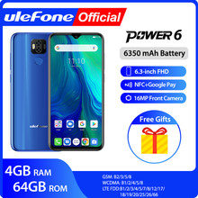 "Ulefone Power 6 Smartphone Android 9.0 Helio P35 Octa-Core 6350 MAh 6.3 ""4 GB 64 GB 16MP face ID NFC 4G LTE Global Ponsel(China)"