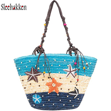 Woven Straw Bag Summer Vacation Bohemian Beach Handmade Tote Zipper Top Handle Shouder Beaded Blue Stripes Women sac