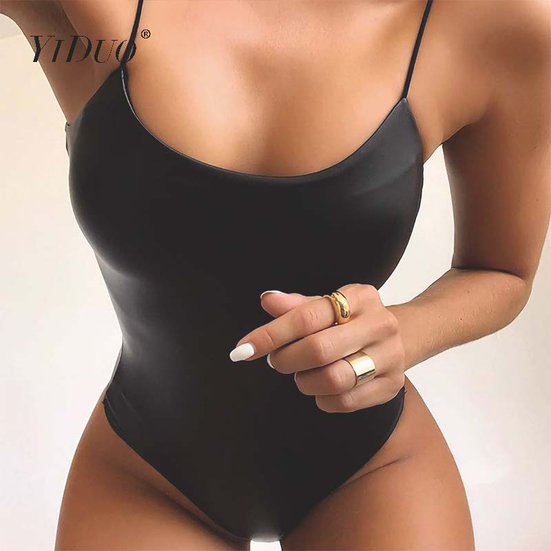 YiDuo Sexy Women's Black Bodysuits Solid PU Leather Straps Square Collar Backless Skinny Body Top Ladies Club Party Overalls New