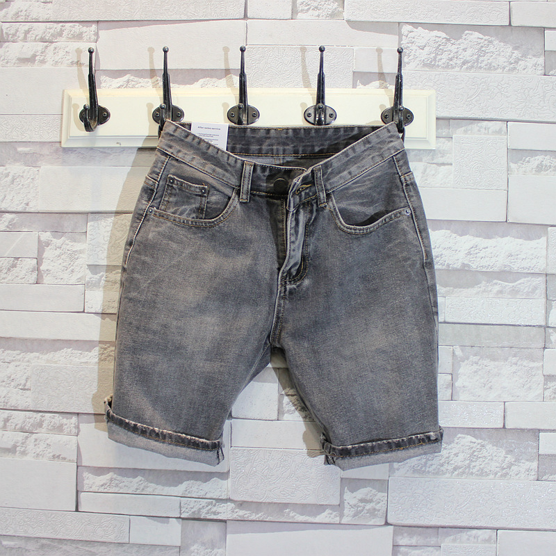 Chen Bang Studio Japanese-style Greyish Black Straight Slim Denim Shorts Summer Short Beach Shorts Casual Pants Men's