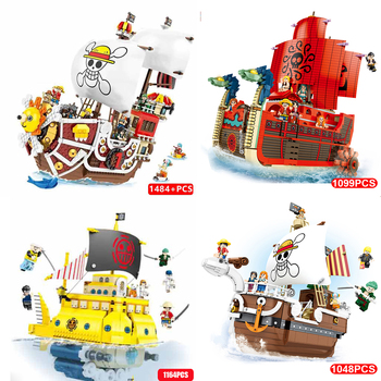 One Piece Monkey D. Luffy THOUSAND SUNNY Pirate Ship 3D2Y Building Blocks Kit Bricks Classic Movie Model Kids Toys Children Gift anime one piece thousand sunny pirate ship figure 35cm thousand sunny boat ship pvc action figures toys collectible model toy