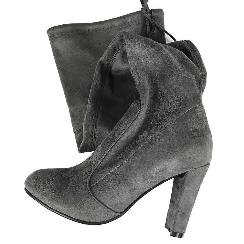 Sonbahar kış kadın uyluk yüksek çizmeler sıkı İnce diz çizmeler üzerinde bayanlar yüksek topuklu çizmeler siyah gri bej çıplak kahverengi