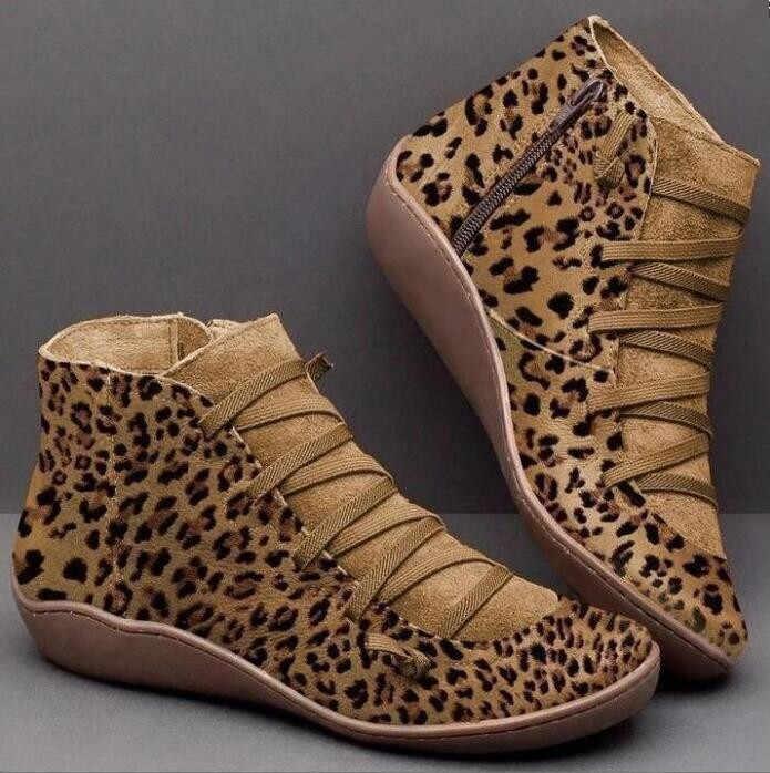 2019 con piel para Mujer Botas Mujer invierno Botas de nieve PU cuero tobillo primavera zapatos planos Mujer Botas cortas marrones