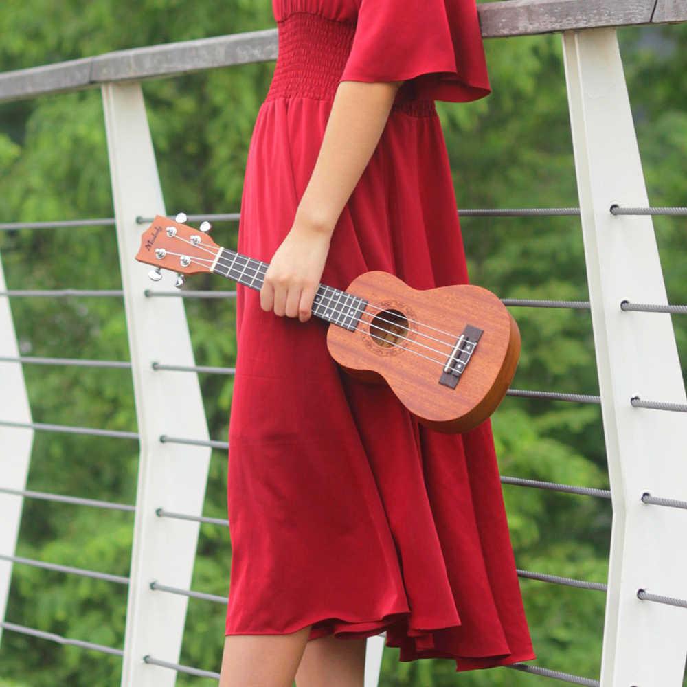 Muslady Ukulele Soprano Ukulele Mahogany Plywood Concert Ukulele Ukelele 23 Inch Beginners Starter Kit with Carry Bag Uke Strap Strings Clip-on Tuner Cleaning Cloth Capo 3pcs Celluloid Picks