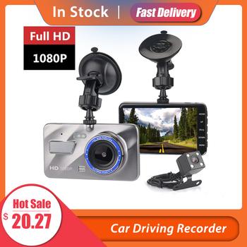 HD 4 Cal podwójny obiektyw obraz 1080P ukryty szeroki kąt rejestrator jazdy kamera na deskę rozdzielczą podwójny obiektyw do telefonu kamera DVR wsparcie kamera cofania tanie i dobre opinie Ai CAR FUN Przenośny rejestrator Klasa 6 170 ° Samochód dvr 1920x1080 Wewnętrzny Bluetooth Wodoodporna Cykl nagrywania