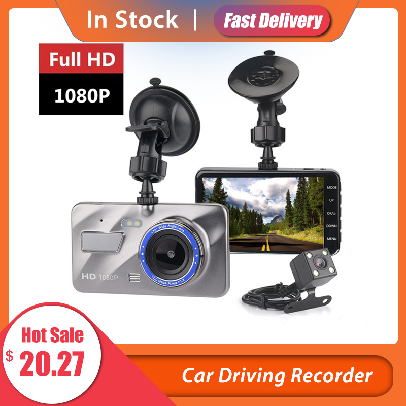 HD 4 Inch Dual Lens Image 1080P Hidden Wide Angle Driving Recorder Dash Cam Dual Lens Car DVR Camera Support Reversing|DVR/Dash Camera|   - AliExpress