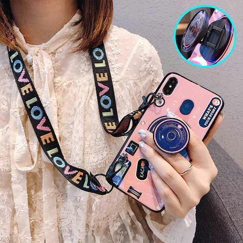 For iPhone 11 Pro MAX X 6 7 8 Plus XR 3D Blu-ray camera Pattern With Lanyard +Bracket Phone Case For Samsung Note10 Pro Note10 s8 s9 plus Note 8 9 Cover case