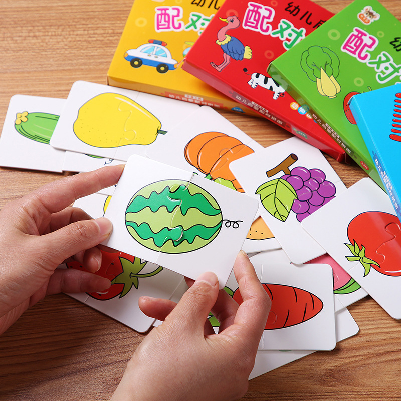 32pcs Baby Cognitive Puzzle Cards Educational FlashCard Matching Game Cartoon Vehicle Animal Fruit Learning Toys for Toddler Kid 3