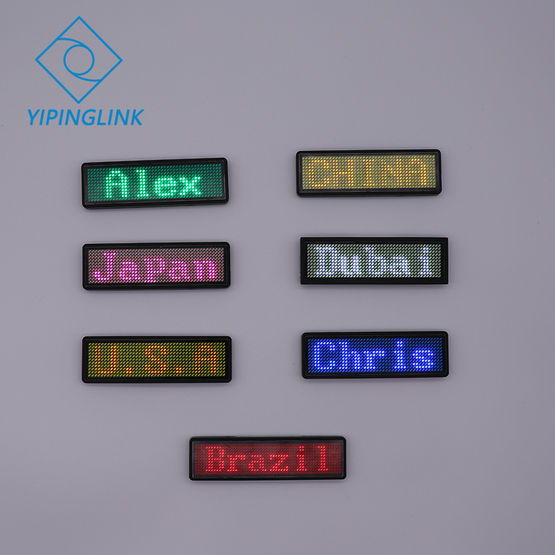 Bluetooth LED name badge <font><b>advertising</b></font> usb name tag sign badge 7 colors mobile app change program rechargeable portable led badge image