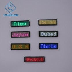 Bluetooth publicidade usb nome LED emblema conhecido tag crachá sinal 7 cores mudança de programa aplicativo móvel portátil recarregável levou crachá