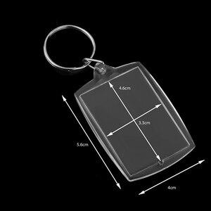 Image 5 - 100 Cái Hình Móc Khóa Hình Chữ Nhật Trong Suốt Trống Acrylic Chèn Ảnh Hình Móc Khóa Móc Khóa Tự Làm Tách Vòng Quà Tặng