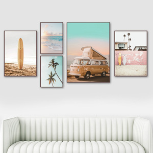 Sea Waves Beach Palm Tree Car Surfboard Wall Art Canvas Painting Nordic Posters And Prints Wall Pictures For Living Room Decor