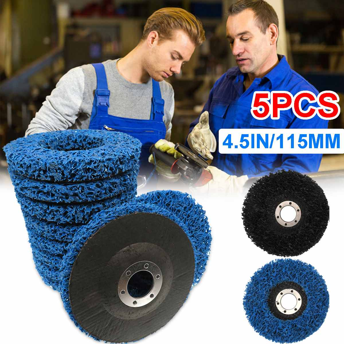 5 Pcs Durable Poly Strip Disc Wheel 115X22mm Wood Metal Paint Rust Removal Clean Abrasive Tools For Angle Grinder Aceessories