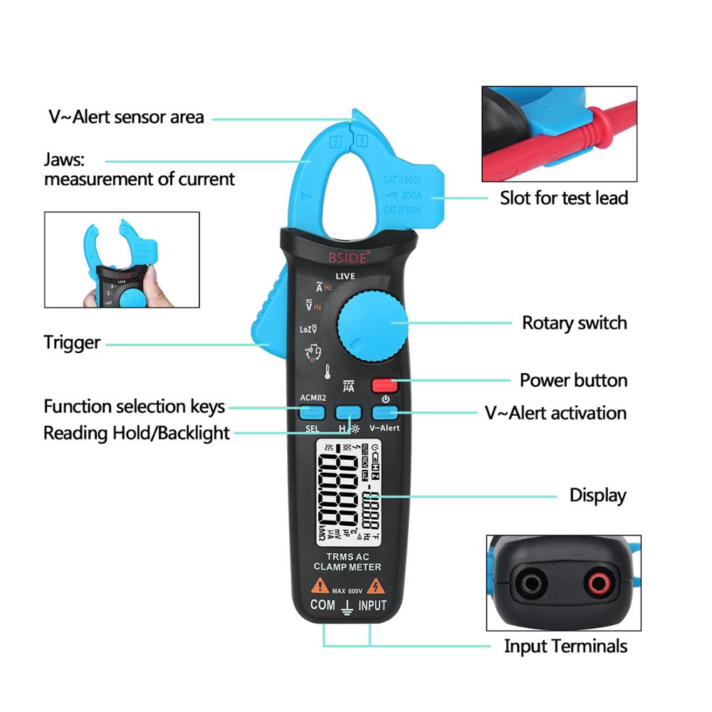 High Precision Clamp Meter BSIDE ACM82 Auto Range True RMS Current Test Hz Temp Ohm uF V alert Live Check with Pocket Clip in Clamp Meters from Tools