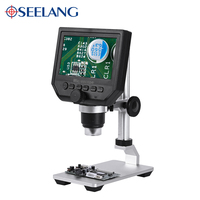 3.6MP 4.3inch HD LCD video camera USB led + metal stand ZOOM 600X electronic stereo digital microscope soldering phone repair