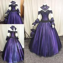 Черные фиолетовые Готические свадебные платья винтажные Большие размеры Стимпанк Викторианский стиль Хэллоуин вампир страна Сад Свадебные платья