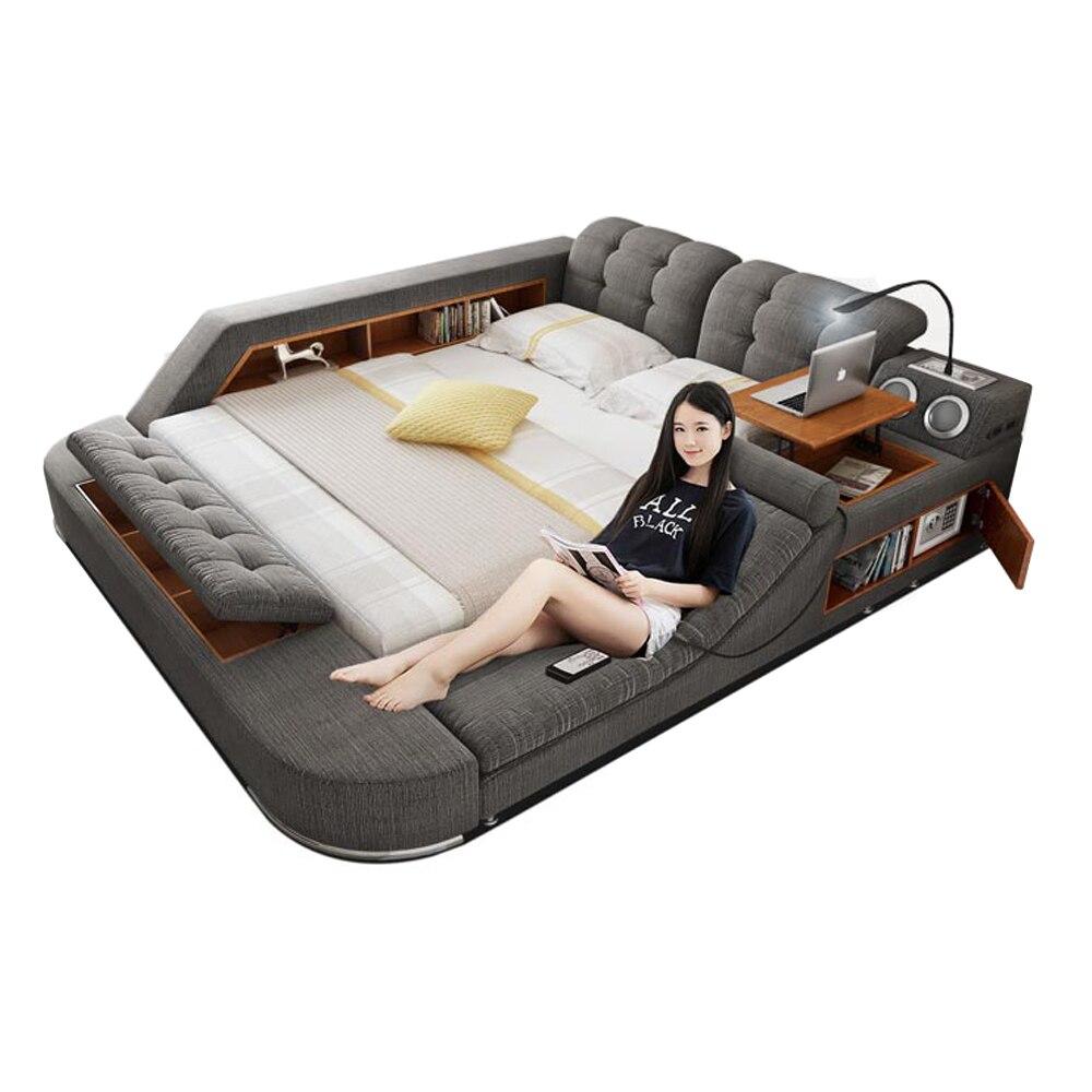 Cama de tela de masaje de Europa y América camas suaves modernas muebles para habitación cama muebles de dormitorio/camas quarto