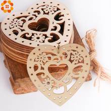 10PCS Wooden Hollow Heart Carved Flower Christmas Pendants Ornaments Party Gift Decoration Xmas Tree Supplie