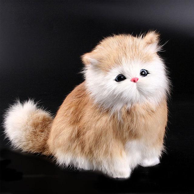Cute Lovely Simulation Doll Lifelike Cat Plush Animal Kids Toy Sound Decor Gift
