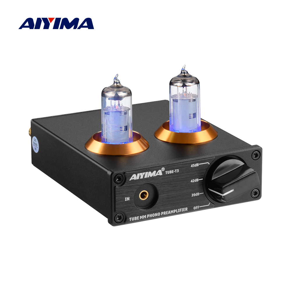 AIYIMA HiFi Vacuum 6A2 Tube MM Phono Preamplifier Vinyl Record Player Stereo Tube Pre amp Amplifier Turntable Phonograph DIY 12V