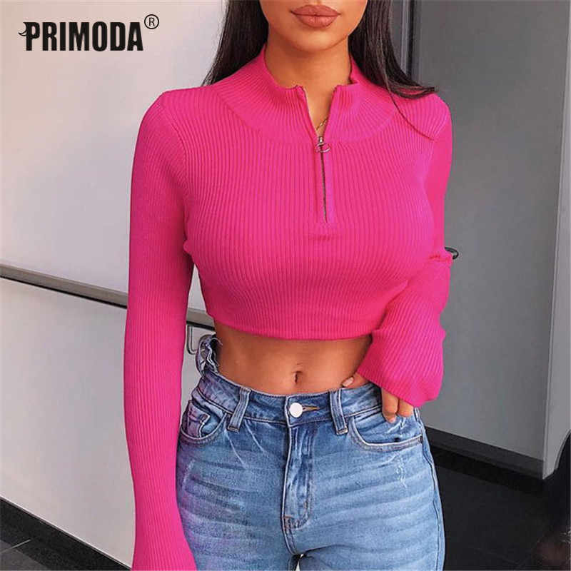 2019 Herfst Winter Steetwear Sexy Crop Tops Neon Laarzen T Shirts Vrouwen Rits Coltrui Knit T-shirts Club Party Outfit PR907G