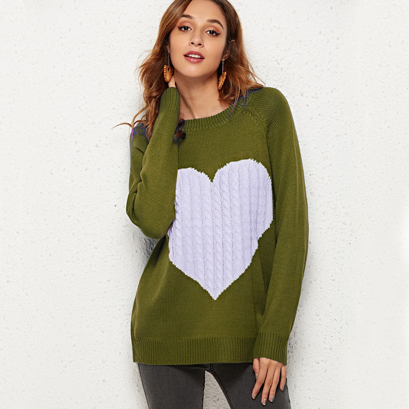 YELITE Women Love Pattern Sweaters Color Block Knitwear Sweaters Patchwork Sweaters Pullovers Long Sleeve Casual Loose Sweaters