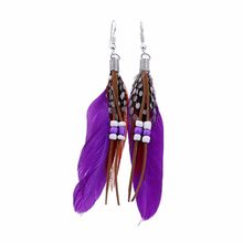 Bohemian Style Rice Beads Tassel Feather Earrings Daily Earrings Wedding Banquet Jewelry Holiday Birthday Gift Women(China)