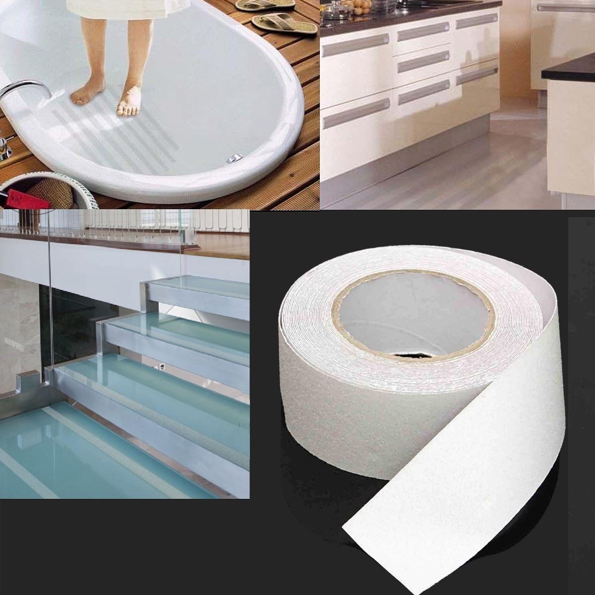 1 Roll 10M Anti Slip Tape Adhesive Tape Waterproof Kids Stairs Floor Shower Room Bathtub Kitchen No Slip Tape PVC White