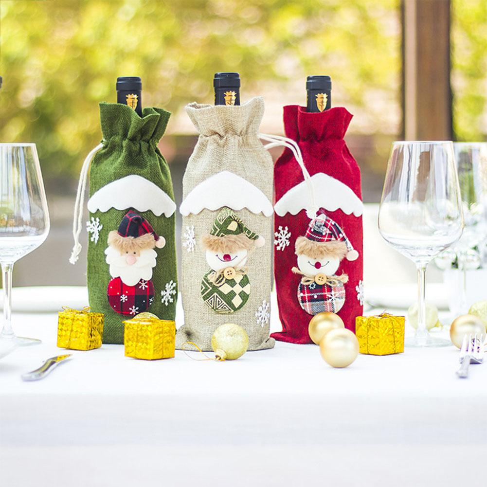 Christmas Wine Bottle Bags Cover Drawstring Wine Bottle Cover Champagne Bottle Bag For Xmas Snowman Decoration Table Decor