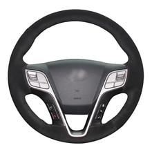 Black Suede DIY Hand-stitched Car Steering Wheel Cover for Hyundai Santa Fe 2013-2018 ix45 2013 2014 2015 2016