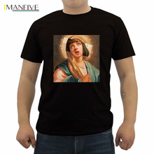 Funny Pulp Fiction T Shirt Virgin Mary Mia Wallace Men Poster Saint T-shirt Male Cotton Short Sleeve O-neck Top Tees