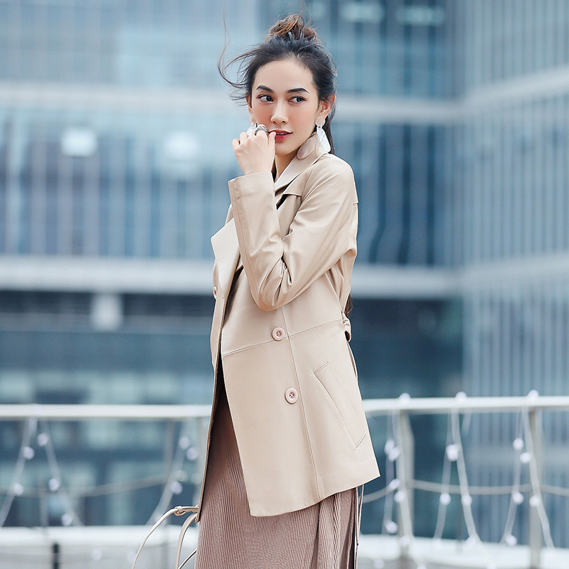 Leather Genuine Jacket Autumn Jacket Women Real Sheepskin Coat Female Long Korean Jackets For Women Clothes 2020 MY3873 S
