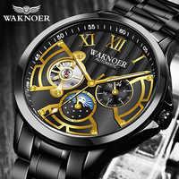 Luxo masculino relógio de pulso mecânico waknoer metal aço automático relógios mecânicos negócios masculino montre relogio masculino saati